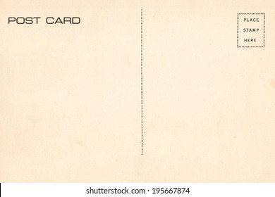 Back of vintage blank postcard