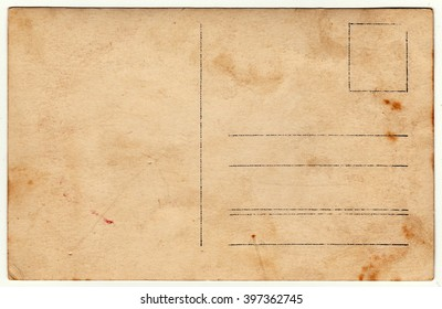 Back of a vintage photo - postcard. Rich stain and paper details. Can be used as background.