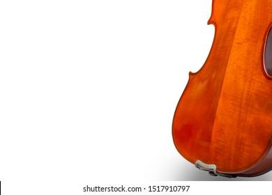 Back violin on white background.Back violin isolate.Classic violin image.