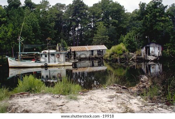 Back water Louisiana fisherman