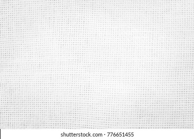 Back white Fabric canvas texture background with blank space for text design. Clean sack beige Hessian sackcloth wool pleat woven concept sisal pattern color, retro plain cotton cloth.