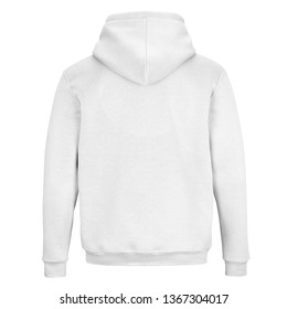 Back of white sweatshirt with hood isolated on white background