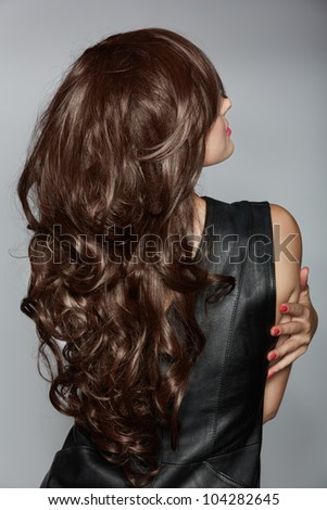 Back Woman Long Brown Curly Hair Stock Photo Edit Now 104282645