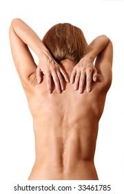 back woman naked on white background
