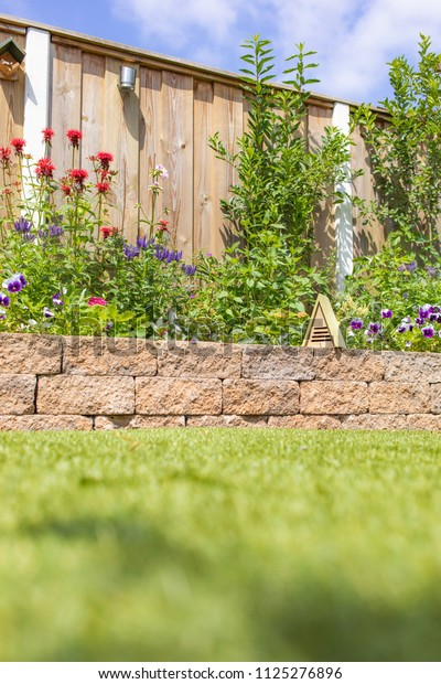 Back Yard House Lawn Borders Plants Parks Outdoor Stock Image