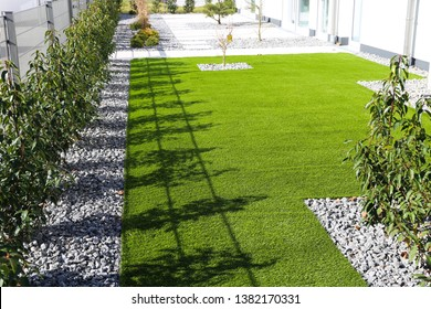 Back yard with very neat rolled turf