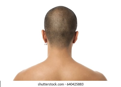 Back of young asian male head shot
