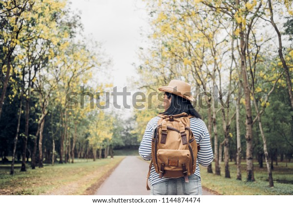 Back of young traveler woman backpacker looking forward at forest in autumn season,Freedom wanderlust travel.solo backpack