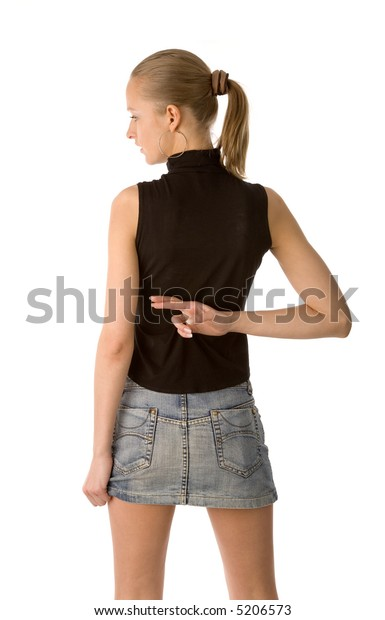 the back of young woman isolated on white