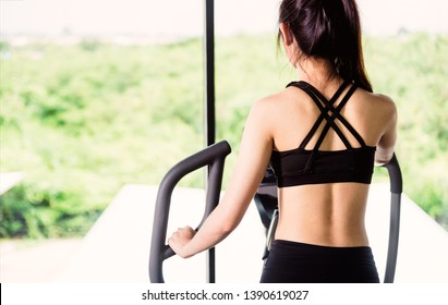 Back young woman lifestyle using machine elliptical for cardio workout at fitness gym