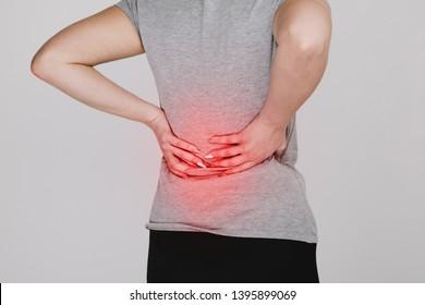 Backache. Kidney problems concept. Lumbago.