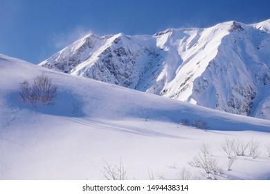 Backcountry skiing in Hakuba valley,  Nagano