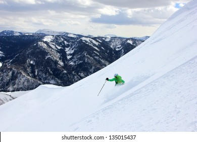 Backcountry skiing in the Utah mountains, USA.