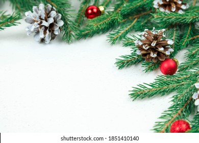 The backdrop for Christmas. Green spruce branches, cones and small red garland balls.