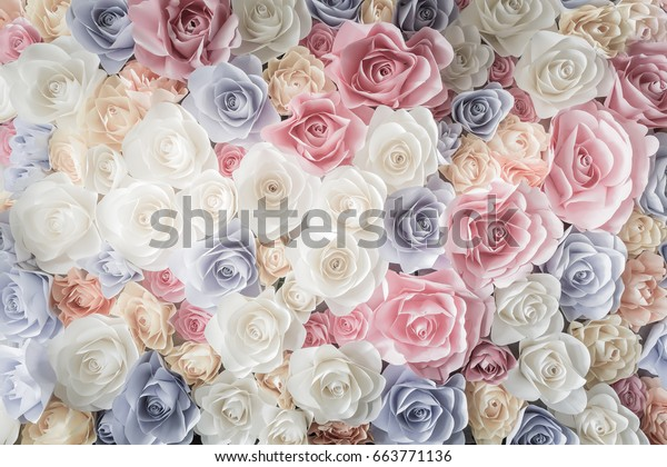 Backdrop Colorful Paper Roses Background Wedding Stock Photo Edit