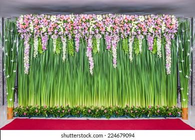 backdrop flowers arrangement for wedding ceremony