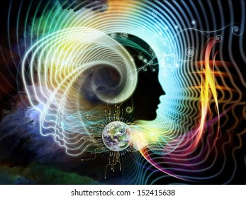 Backdrop of human feature lines and symbolic elements on the subject of human mind, consciousness, imagination, science and creativity