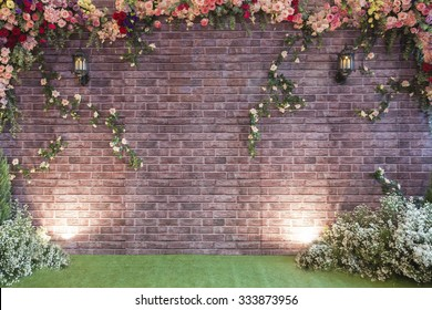 The backdrop at the wedding ceremony with background.people use in wedding day.