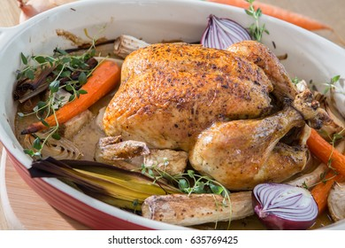 Backed chicken with vegetables
