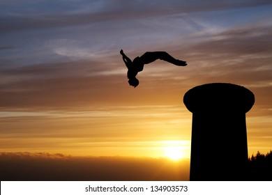 backflip in sunset