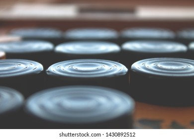 backgammon, black checkers close up