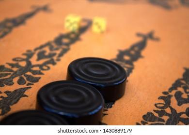 backgammon board, checkers and bones, old board