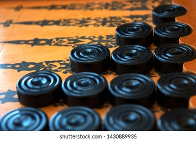 backgammon board and checkers, old wooden board