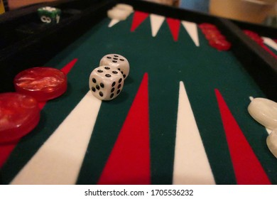 Backgammon field  in green and red with white dices
