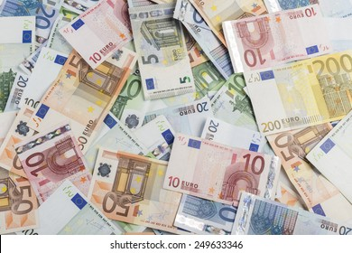 backgound of lots of bills of mixed value of euro