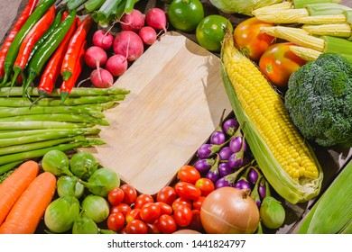 Backgroud of fresh food tasty and healthy varis vegetables are on the wooden table with space for your message