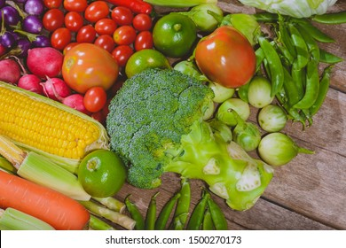 Backgroud group of fresh food tasty and healthy varis vegetables are on the wooden table