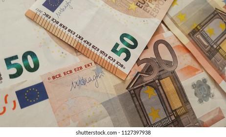 Background of 50 euro bills