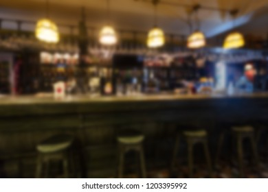 Background with abstract blurred bar counter