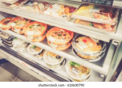 Background abstract blurred of Food Shelf supermarket