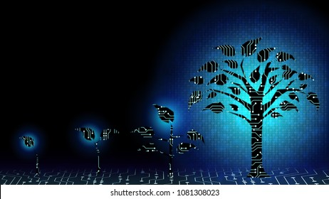 Background of abstract fin tech startup Business growth transformation innovation to digital. Successful financial technology seeding and expanding to future business investment, interest and profit