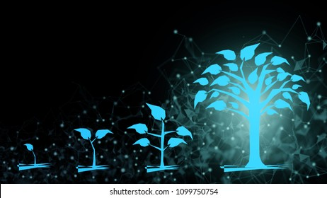 Background of abstract fintech financial technology transformation innovation investment development of successful  cashless wealth fund management in online digital banking growth expanding concept
