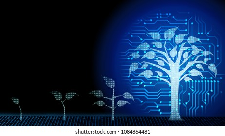 Background of abstract fintech startup Business growth transformation innovation to digital. Successful financial technology seeding and expanding to future business investment, interest and profit