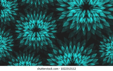 Background with Abstract Floral Motif. Turquoise Flowers on Dark Background.