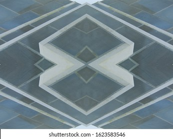 Background abstract geometric pattern, kaleidoscopic architectural forms and textures, natural colours, repetition and reflection.