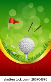 Background abstract green golf sport white ball red flag club frame vertical gold ribbon illustration