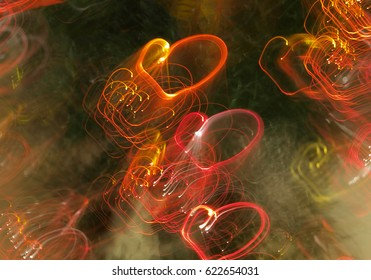 background of abstract hearts lights red and white