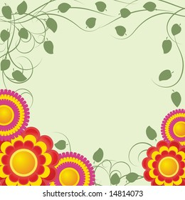 Background with   abstract red flowers and green branches