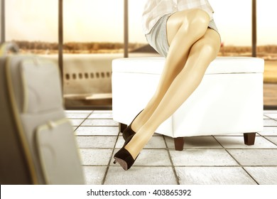 background of airport and woman on white sofa and floor