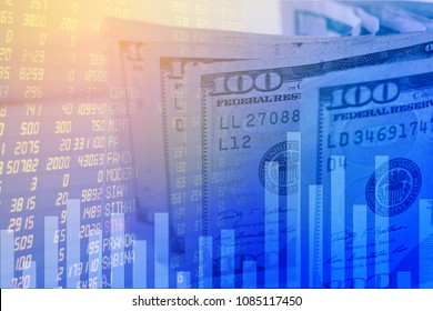 background of american 100 dollar and stock market exchange trading graph,Double exposure business financial business banking and stock market concept,abstract finance background.