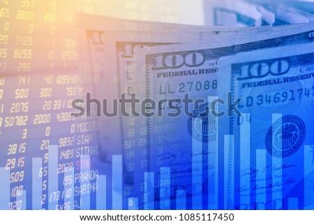 Background American 100 Dollar Stock Market Stock Photo