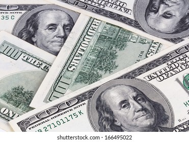 Background with American hundred dollar bills. Close up