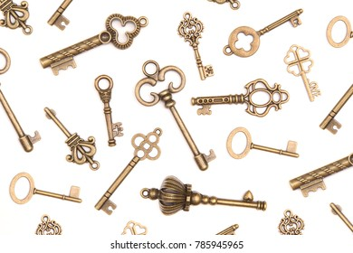 Background of Antique Skeleton Keys