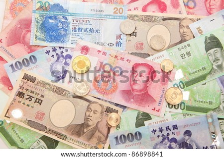 Background of asian currency (include Korean Won, Taiwan dollar, Chinese Money yuan , Hong Kong Dollar, japanese Yen)