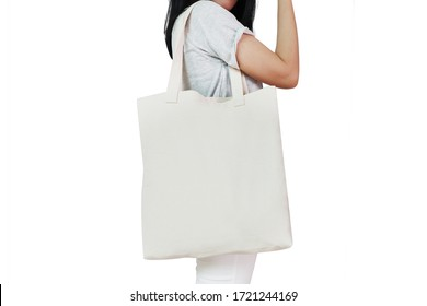 Background of Asian Woman Hold  Canvas Tote Bag with Blank Space for Design Mock-Up
