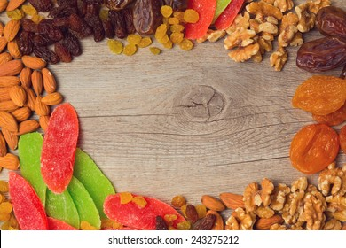 Background with assorted dry fruits and nuts
